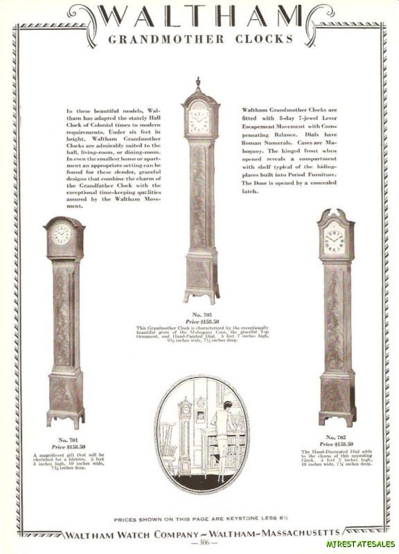 Grandmother Clock Ad Waltham